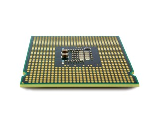 Central processing unit. CPU microchip isolated on white background.