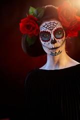 Halloween makeup Santa Muerte mask