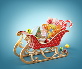 Unusual 3D illustration of red christmas sleigh