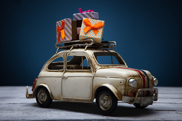 toy car with Christmas gift