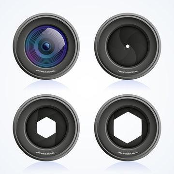 Shutter apertures, camera objective set, lens, vector illustration