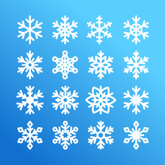 Cute snowflake collection isolated on blue background. Flat snow icons, snow flakes silhouette. Nice element for christmas banner, cards. New year ornament. Organic and geometric snowflakes set.