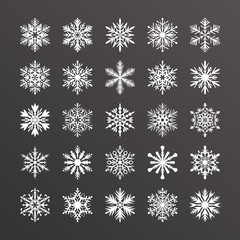 Cute snowflake collection isolated on black background. Flat snow icons, snow flakes silhouette. Nice element for christmas banner, cards. New year ornament. Organic and geometric snowflakes set.