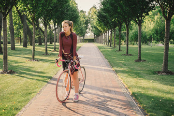Active sport  woman with bicycle