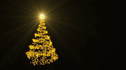 Christmas tree shape with golden star on black background, 3D rendering
