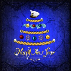 New Year tree in a marine style on a magic dark blue background.