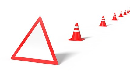 3d illustration of red traffic signs.