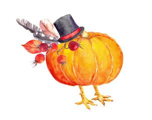 Pumpkin as thanksgiving turkey. Watercolor
