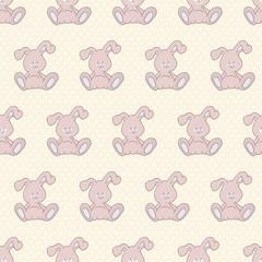Cute Rabbit on Polka Dot Seamless Pattern