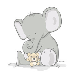 Baby elephant plays with bear cub