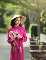 Portrait of Vietnam girls with Lotus