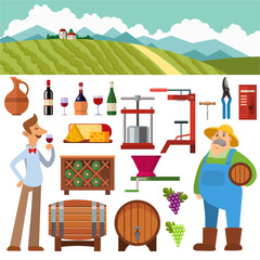 Wine production vector set.