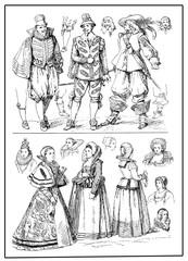 men and ladies wear costumes XVII century