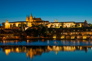View on Vltava river and St.Vitus cathedral in Prague Castle at