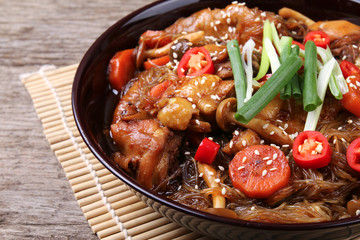 Jjimdak, a korean braised chicken dish. The city of Andong in South Korea is well known for this dish.