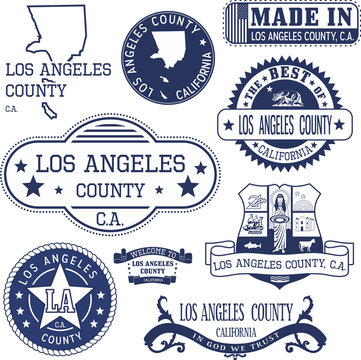 Los Angeles county, CA. Set of stamps and signs