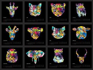 Calendar 2017 year simple animal style