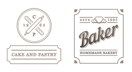 Set of Vector Bakery Pastry Elements and Bread Icons Illustratio