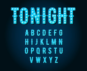 Neon Casino or Broadway Signs style light bulb Alphabet in Vecto