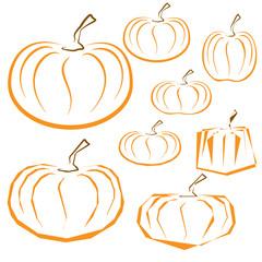 Vector outline pumpkins set on white background.