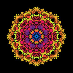Ethnic Psychedelic Fractal Mandala Vector Meditation looks like
