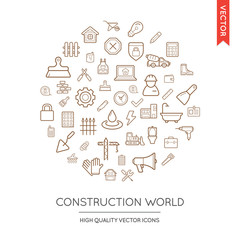 Vector Set of Construction Modern Flat Thin Icons Inscribed in R