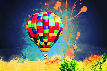 Hot air balloon. Freedom and adventure concept. Mixed media