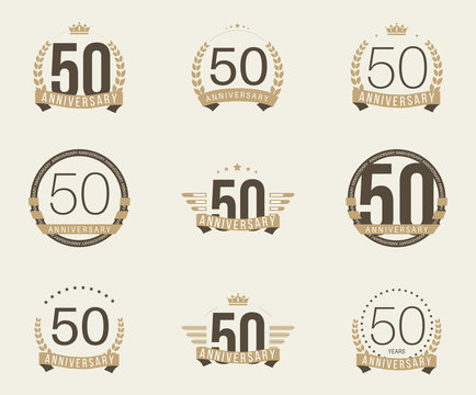 Fifty years anniversary celebration logotype. 50th anniversary logo set.