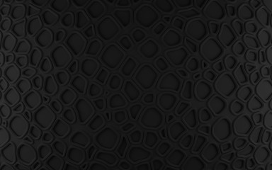 Black abstract cells net backdrop. 3d rendering geometric polygons