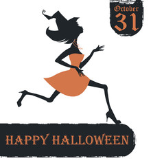 Halloween card with stylish witch silhouette