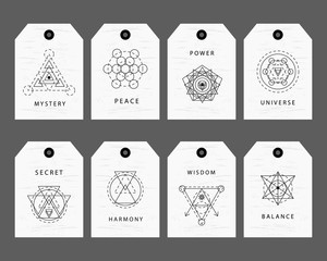 Sacred geometry signs labels set
