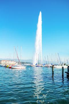 Famous fountain jet dEau in Geneva lake near Geneva city in Switzerland