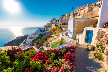 Aluminium Prints European Famous Place Panoramic view over Oia, Santorini islands, Greece