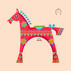 Wooden toy horse. Vector illustration