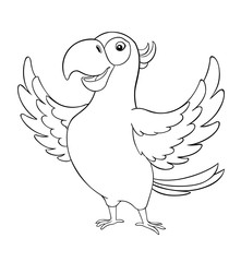 Cute cartoon parrot. Vector illustration on a light background. Coloring book.