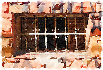 Digital watercolor painting with decorative metal bars and surrounded by bricks in Brazil.