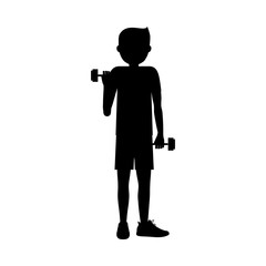 Boy lifting weight icon. Sport hobby and training theme. Isolated design. Vector illustration