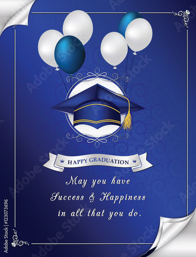Blue happy graduation greeting card congratulation for your blue happy graduation greeting card congratulation for your graduation elegant printable greeting card containing m4hsunfo