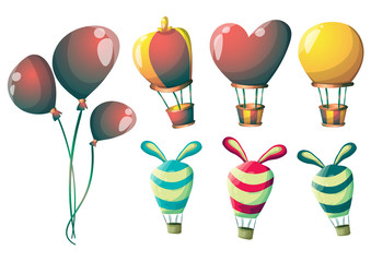 cartoon vector cute balloons object with separated layers for game art and animation game design asset in 2d graphic