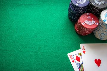 Ass und König beim Texas Holdem mit Textfreiraum.