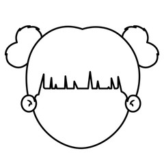 Girl cartoon head icon. Kid child little and people theme. Isolated design. Vector illustration