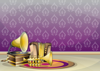 cartoon vector illustration interior music room with separated layers in 2d graphic