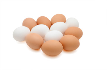 Fresh organic eggs isolated on white background
