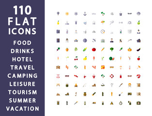 110 flat icons. Traveling, camping, hotel.