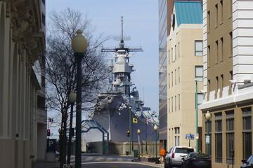 Warship in a town, Norfolk, Virginia