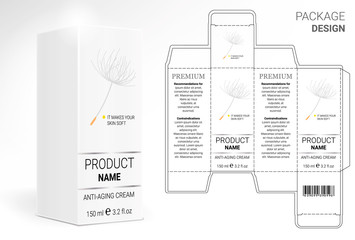 Packaging Design Cosmetics, cut the carton. Shampoos, creams, perfumes, balm.