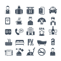 big set of vector icons for hotel service