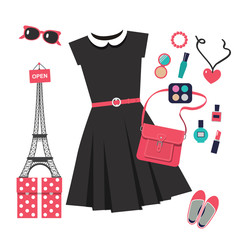 set of vector icons for shopping in Paris with black dress