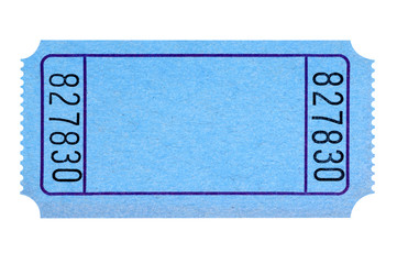 Blank blue movie or raffle ticket isolated on white background.