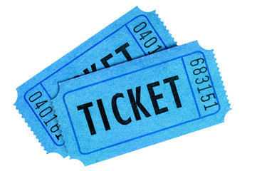 Two blue tickets isolated on white background.
